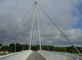 New Foot and Cycle Bridge Over A45 at Rushden Lakes Retail Development.